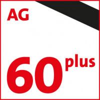 60plus-Logo mit Trauerflor